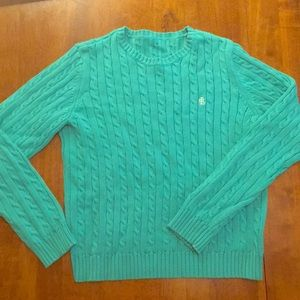 Ralph Lauren RLL Turquoise Cable Knit Sweater